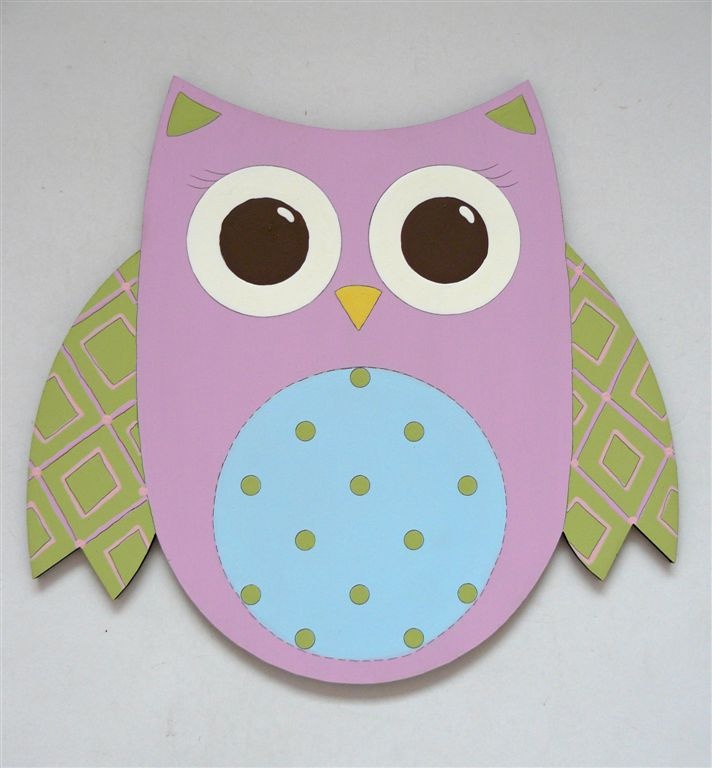 Owl in pink and green