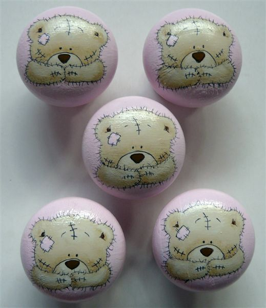 Pink base with brown teddies