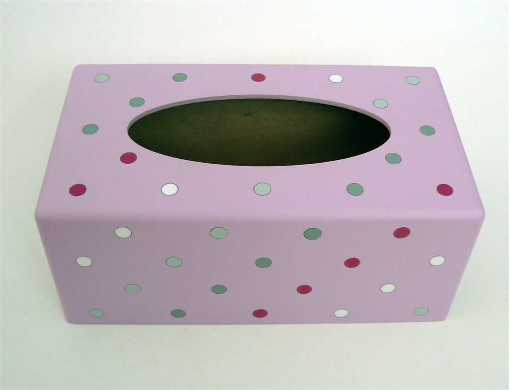 Tissue box pink with polkas