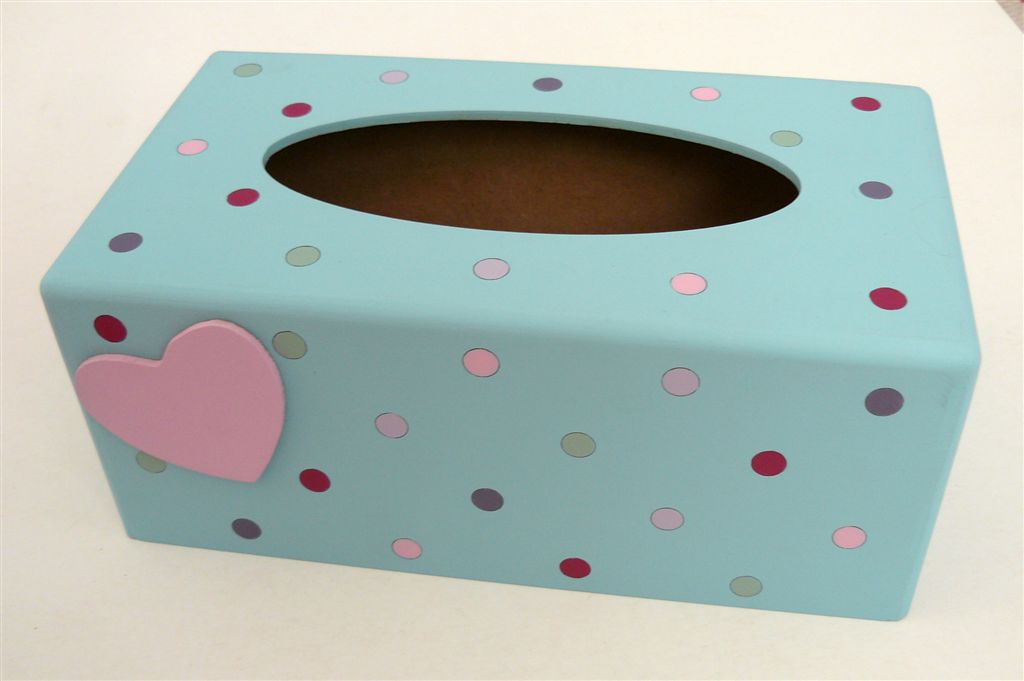 Tissue box Duck egg and polkas heart cutout