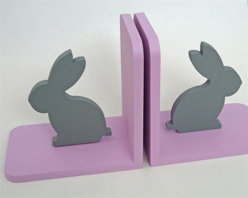 Bookends Grey bunny with pink base