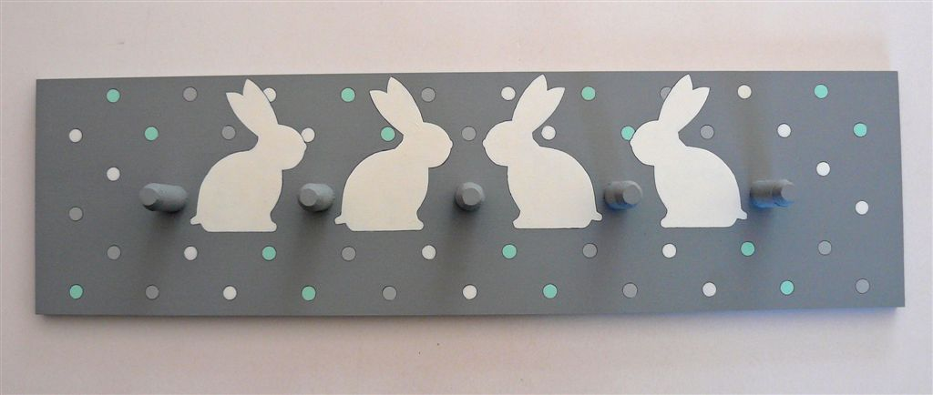Grey base with polkas and bunnies