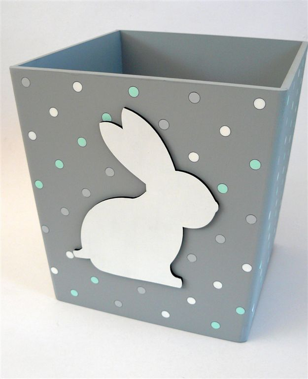 Grey dustbin with white bunny