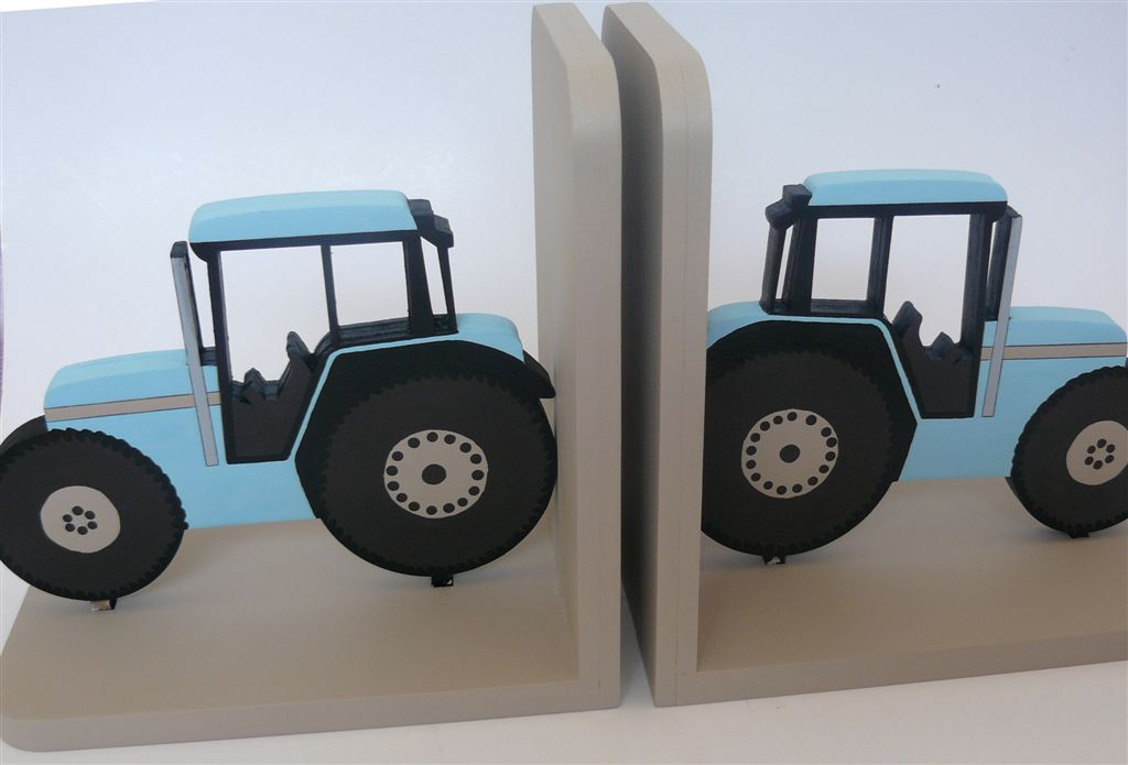 Tractors in light blue