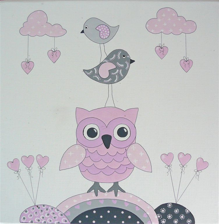 Owls with hearts and balloons