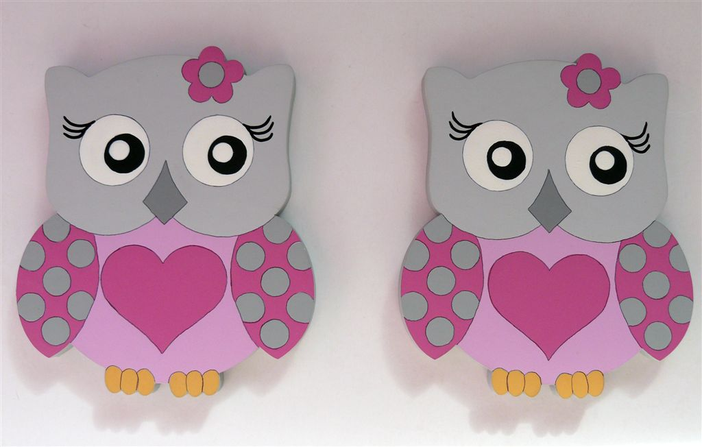 Grey and pink owl tiebacks