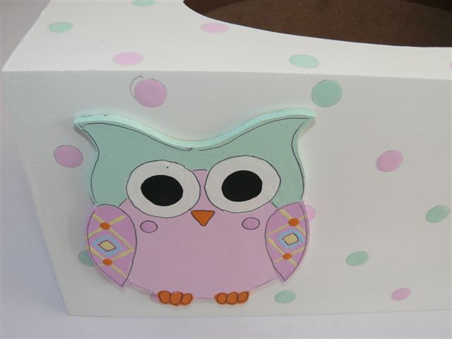 White tissue box with owl cutout