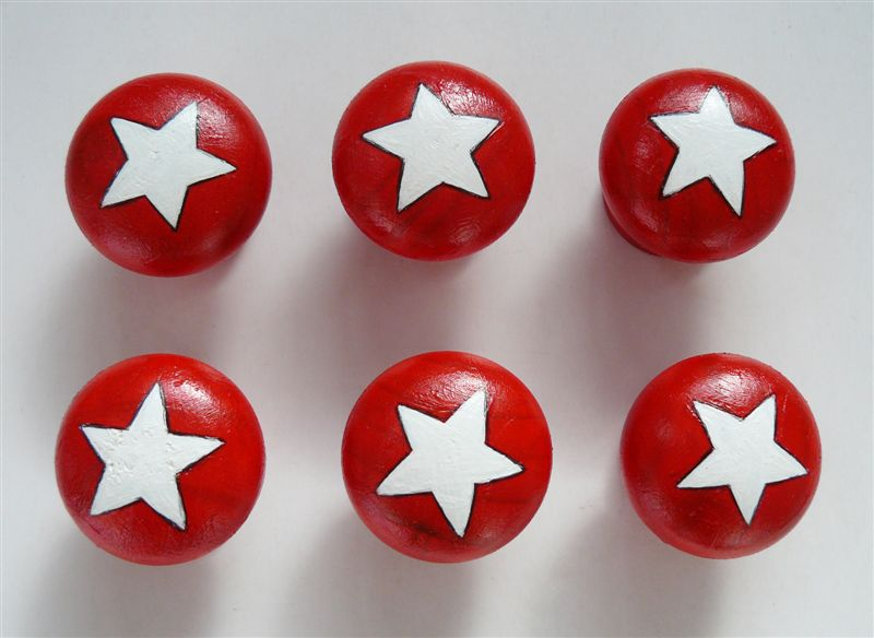 Red base with white star doorknob