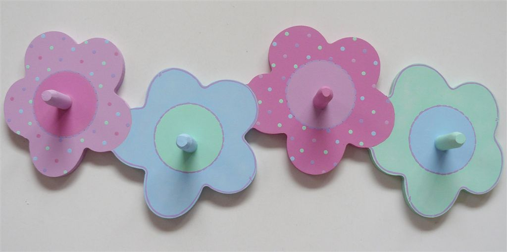 Coatrack with pastel flowers