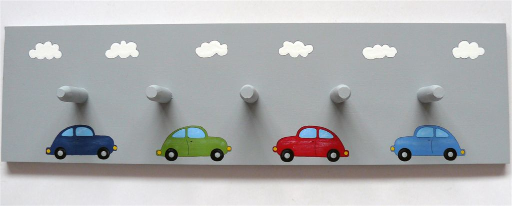 Cars on grey base coatrack
