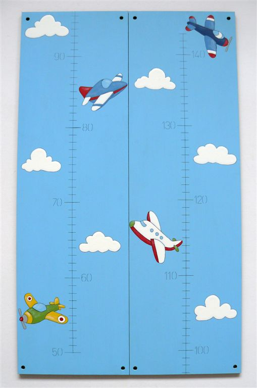 Growth chart planes on blue