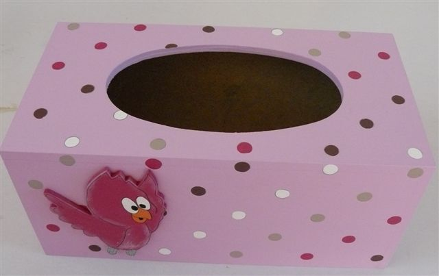 Tissue box pink base polkas and birdy cutout