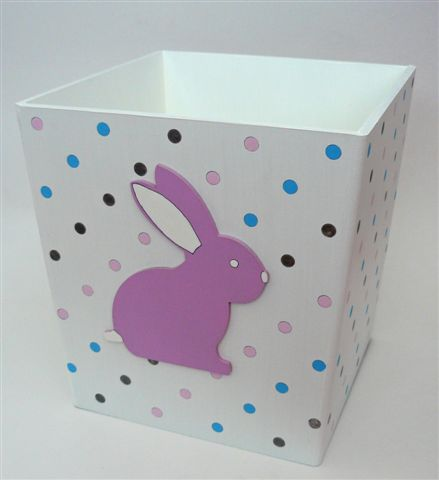 White dustbin with pink bunny
