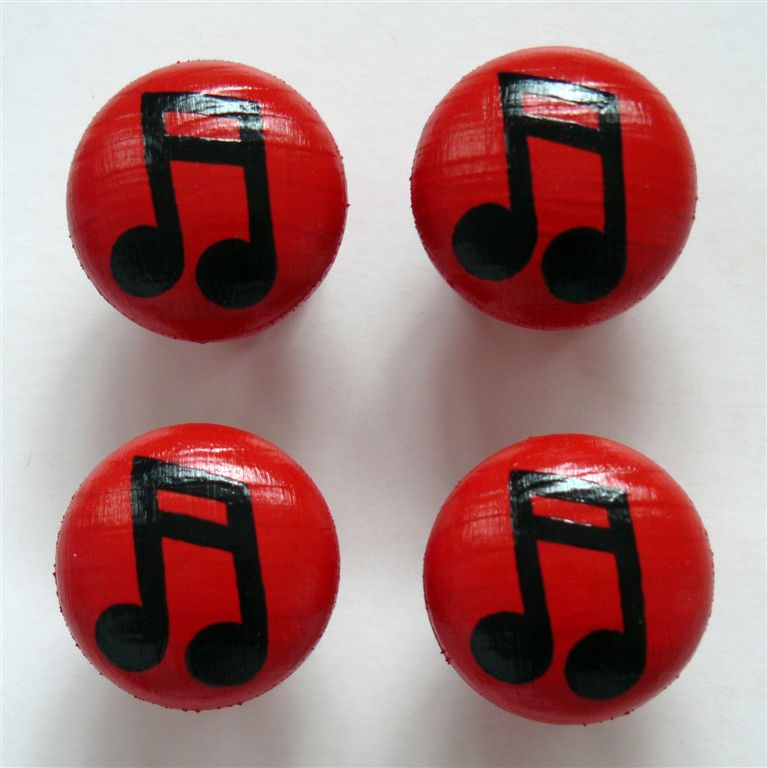 Red doorknob with music note