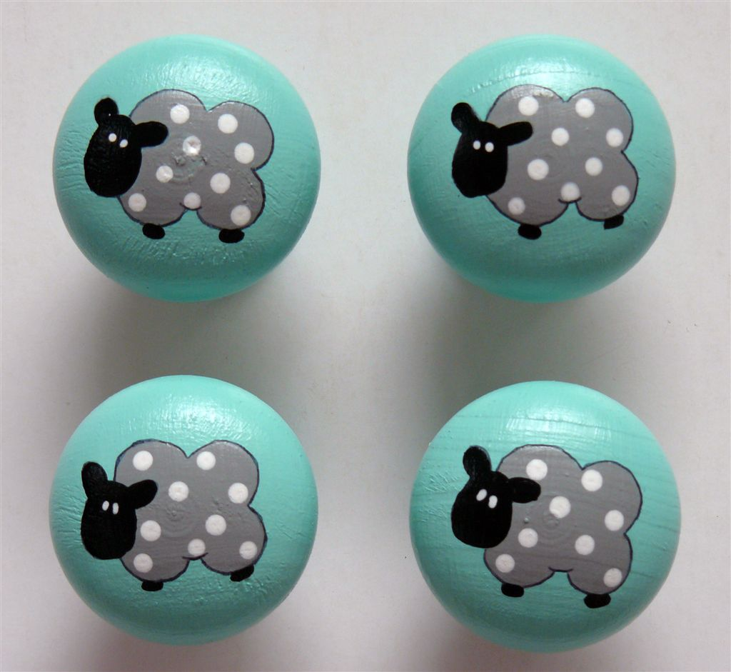 Mint doorknob with grey sheep