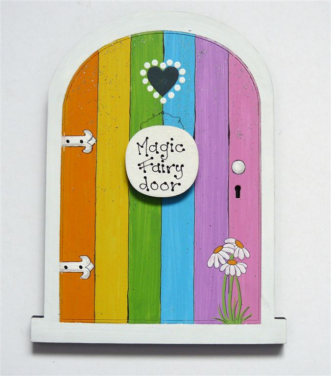 Rainbow door with white frame 18x14cm