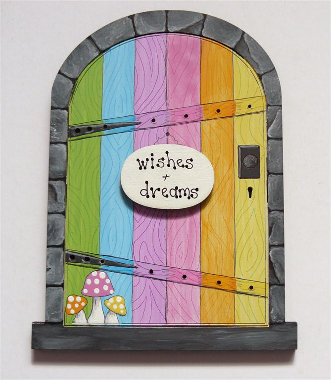 Rainbow door with grey frame 18x14cm