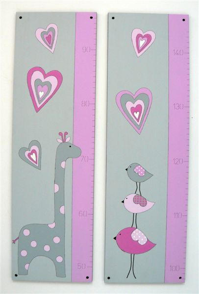 Growth chart pink and grey birdies giraffe