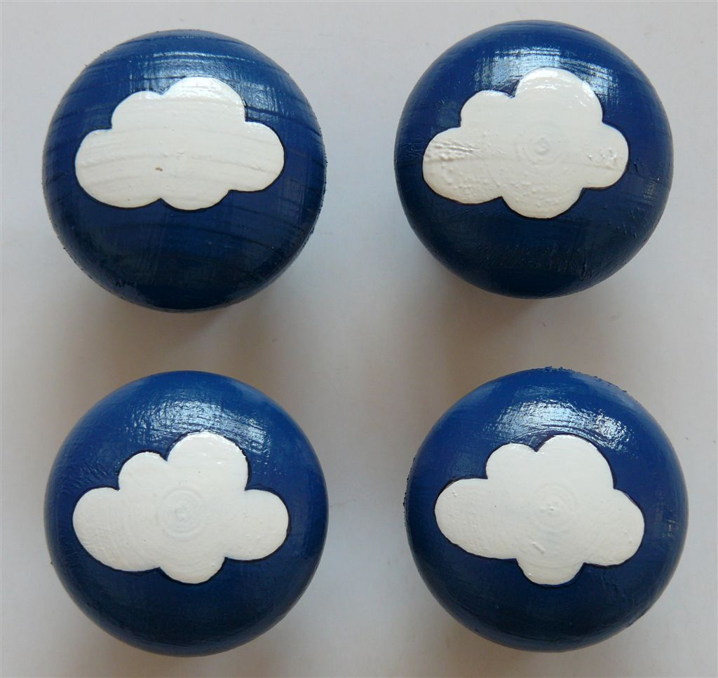 Navy doorknob with white cloud
