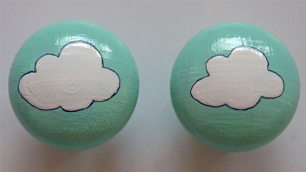 Mint doorknob with white cloud