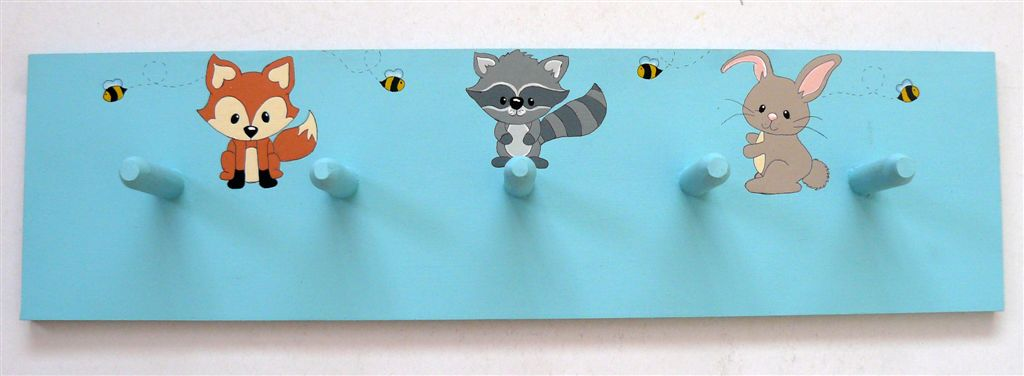 Woodland animals on light blue base