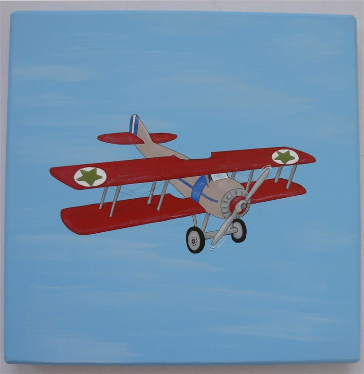 Red Vintage plane on blue base