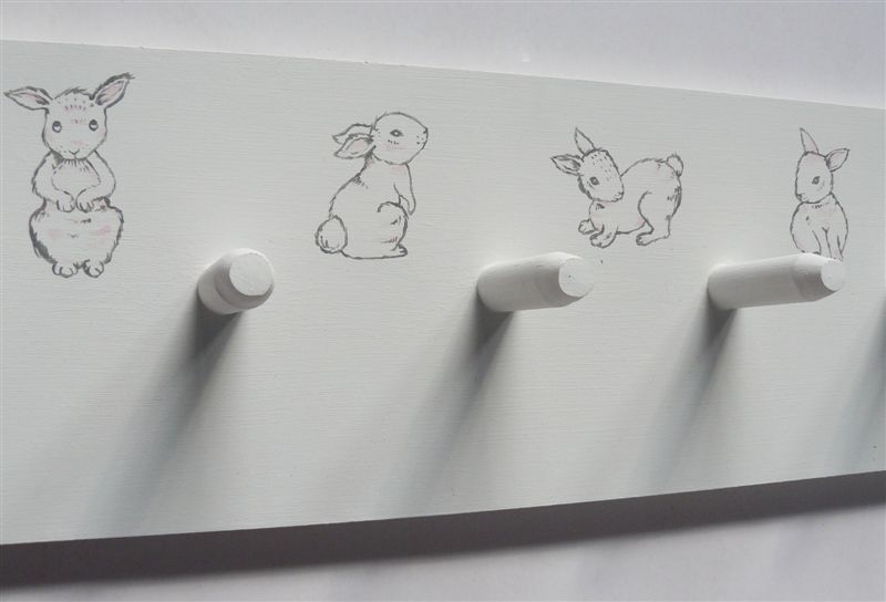 Bunnies painted detail coatrack