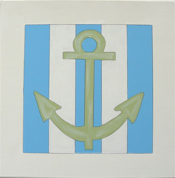 Green Anchor with stripe back - Click Image to Close