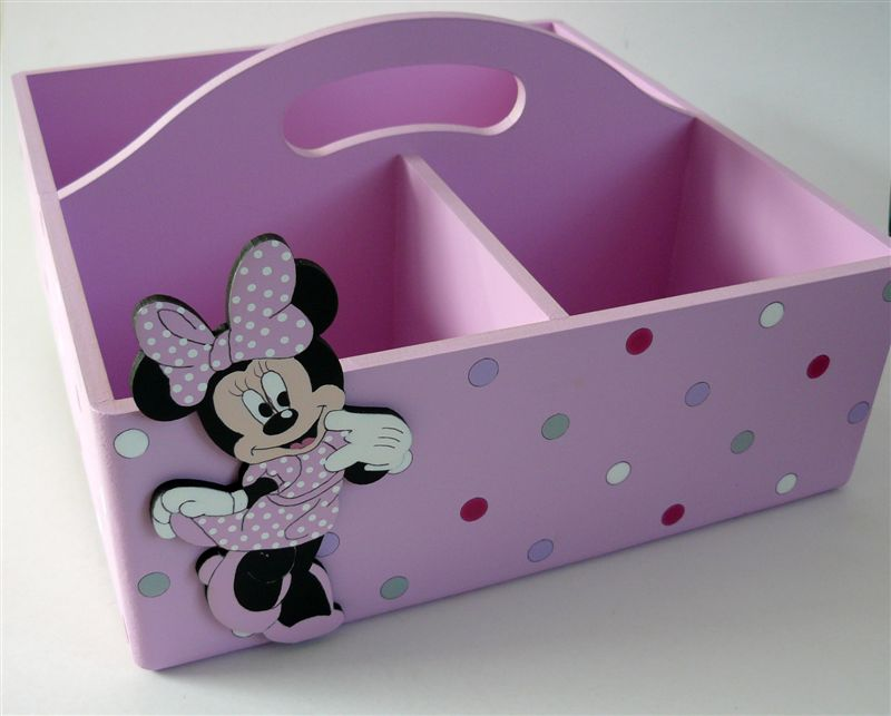 Pink with polkas and Minnie Mouse - Click Image to Close