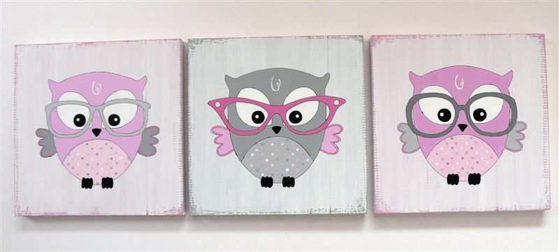 Trio owls with glasses in pinks and grey