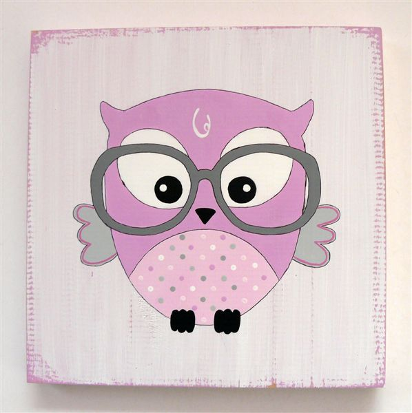 Owls with glasses in pinks and grey