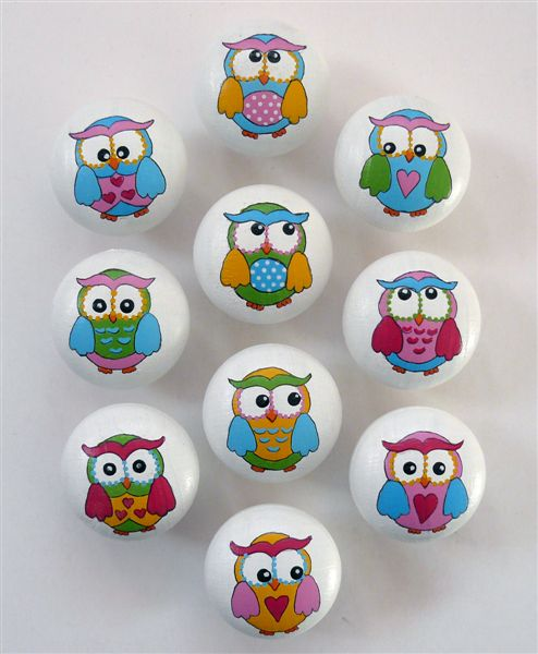 Happy owls on white
