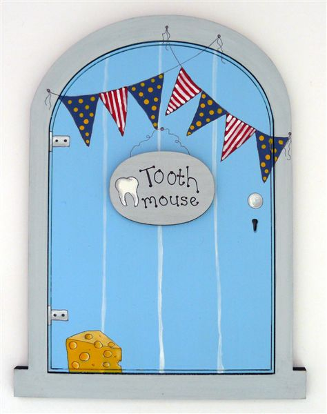 Fairy door blue with bunting
