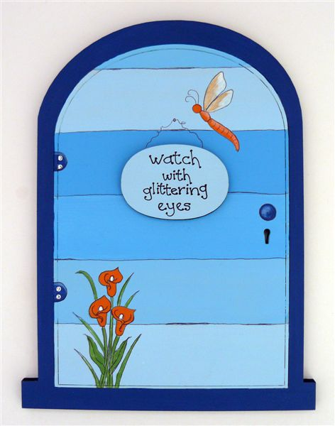 Fairy door blue horizontal stripes 18x14cm