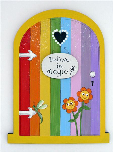 Rainbow door with yellow frame 18x14cm