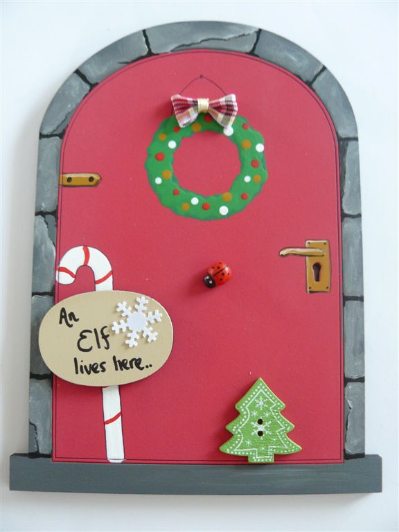 Red Christmas Elf door