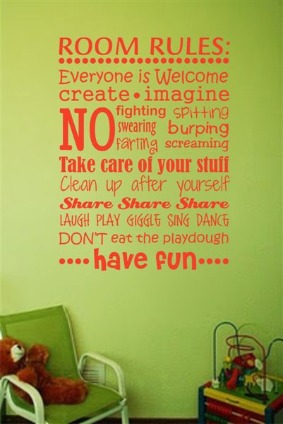 Rules for a bedroom or playroom