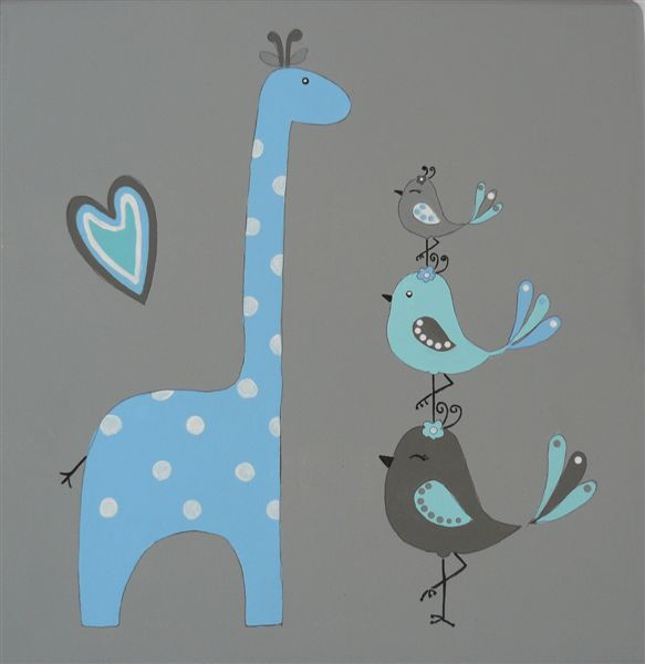 Blue giraffe grey back