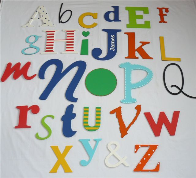 Alphabet wall in bright colours