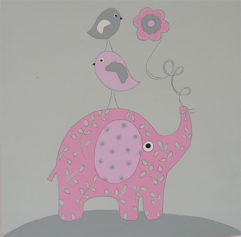 Pink Elephant with Birds