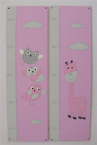 Pink Growth Chart with Birds and Giraffes