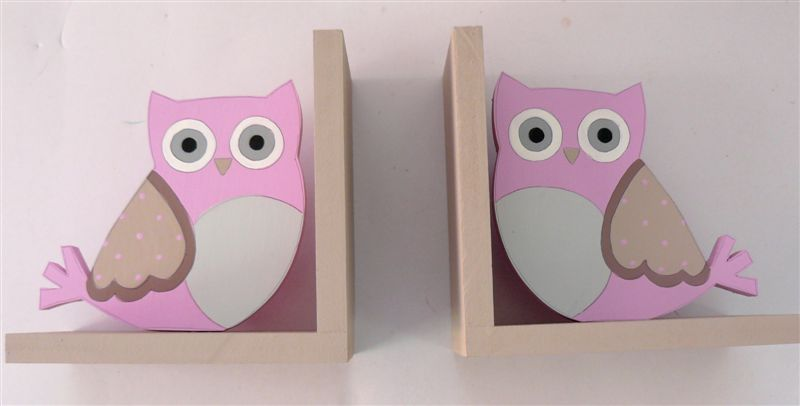 Mocha Bookends with Fancy Owls