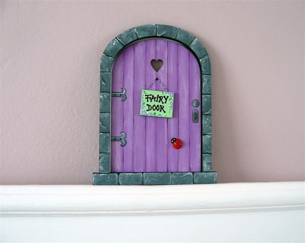 Purple and grey fairy door 18x14cm