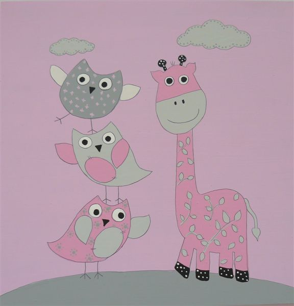Pink Giraffe with Birds