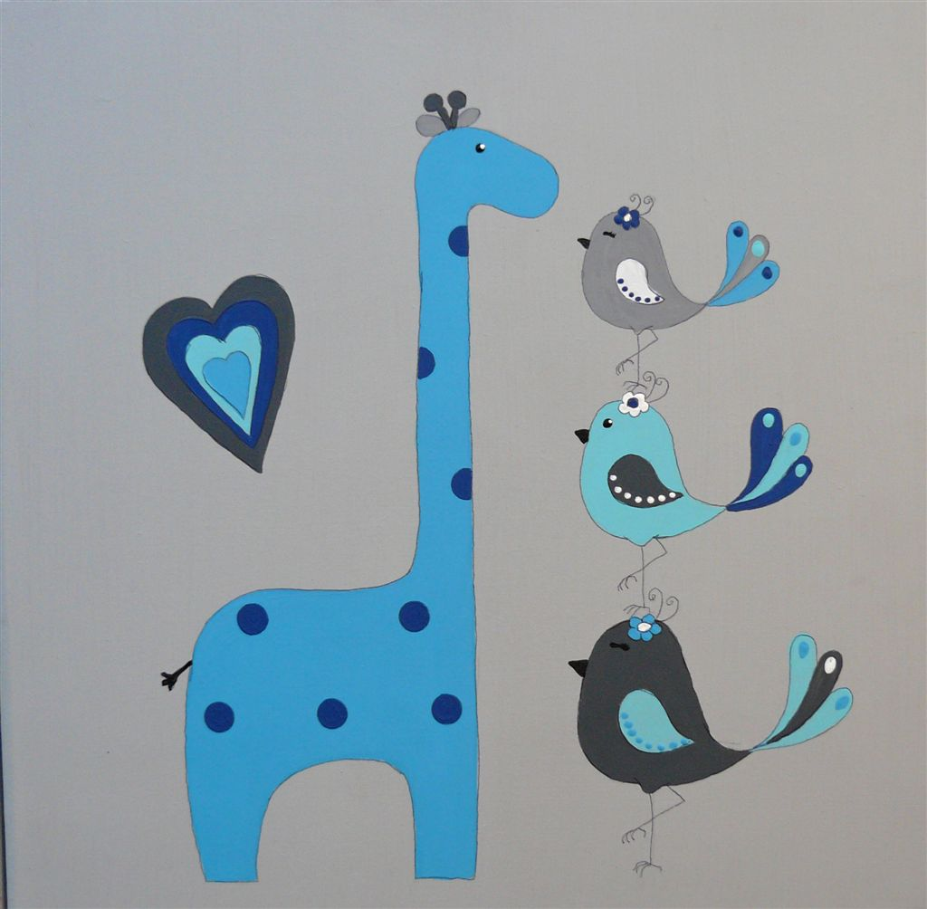 Giraffe with birdies navy and grey