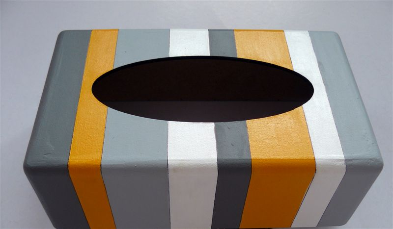 Tissue box with grey, yellow and white stripes