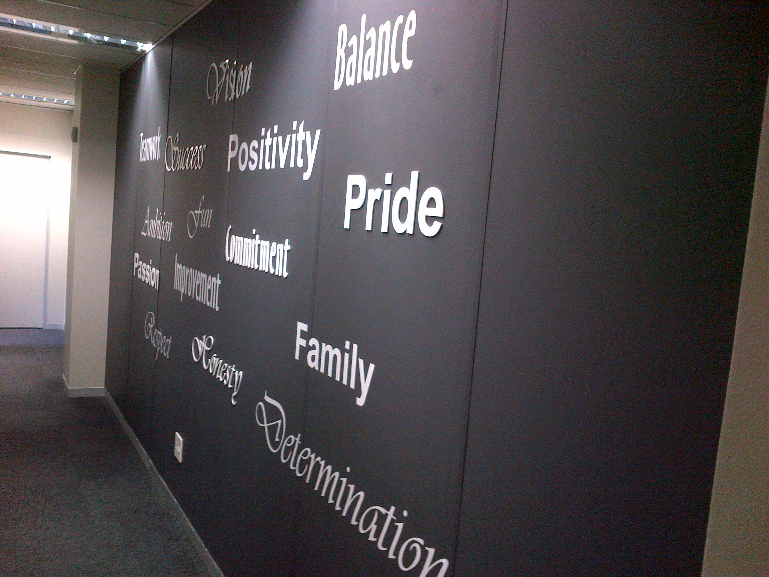 Wall with motivational letters