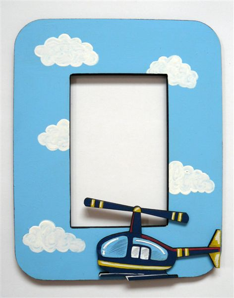 Light blue base with helicopter and clouds