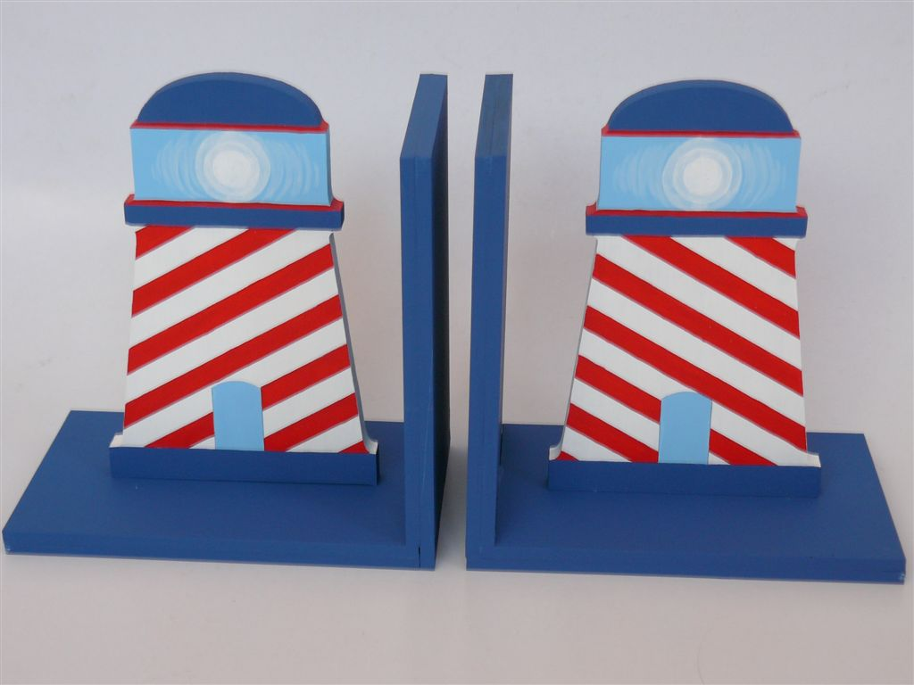 Bookends with light houses