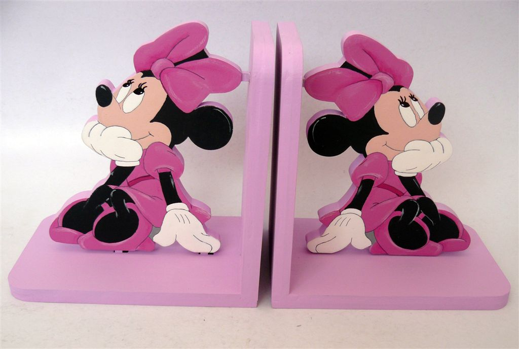 Pink Bookends with Minnie Mouse